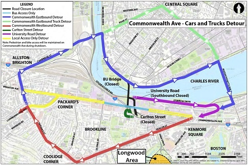 """The MBTA Green Line Boston College """"B"""" branch will be replaced with buses  between Packard's Corner and Kenmore Square."""