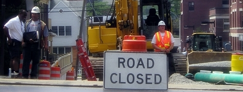 Construction road closure